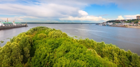 View of old Nizhny Novgorod and junction of Oka river with Volga River. Russia photo