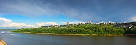 oka: Panorama of Nizhny Novgorod with Kanavinsky bridge through Oka River. Russia
