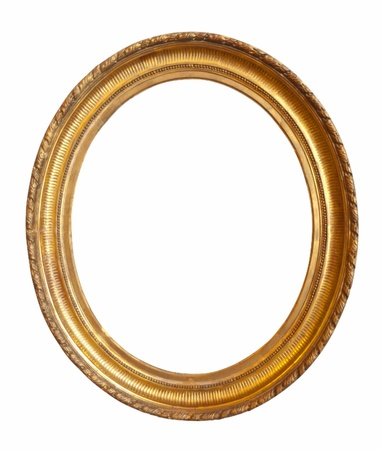 oval gold picture frame. Isolated over white  photo