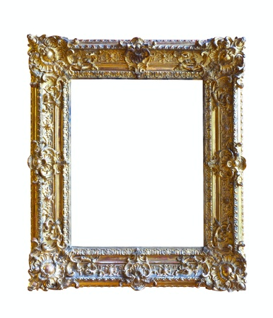 gold picture frame. Isolated over white background  photo