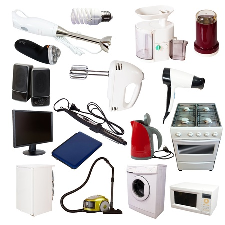 Set of  household appliances. Isolated on white background photo