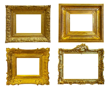 Set Of Few Old Gold Picture Frames. Isolated On White Background ...
