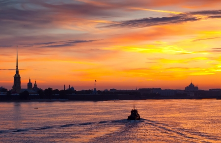 view of Neva river in dawn. Saint Petersburg, Russia photo