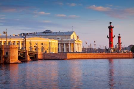 view of St. Petersburg. Vasilyevsky Island in summer day Editorial