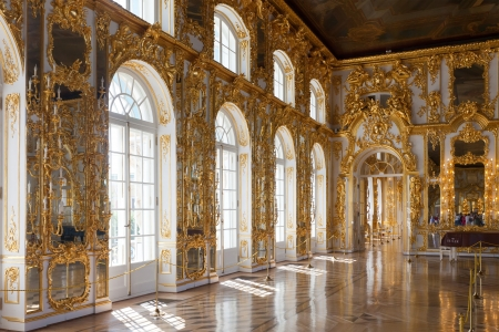 ST.PETERSBURG, RUSSIA - AUGUST 2: Interior of Catherine Palace in August 2, 2012 in St.Petersburg, Russia. The former imperial palace.  Building is laid in 1717 on orders of Catherine I. Now a museum
