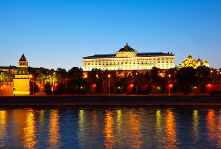 View of Moscow Kremlin in summer night. Russia