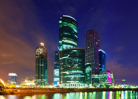 skyscrapers of Moscow city business center  in summer night