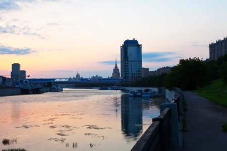 moskva river: View of Moscow. Moskva River in sunrise