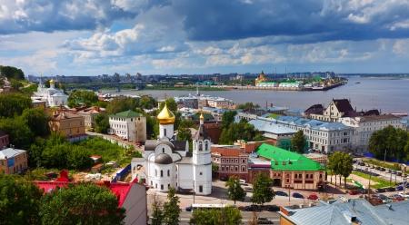 nizhni novgorod:  historic district of Nizhny Novgorod in summer sunny day. Russia Stock Photo