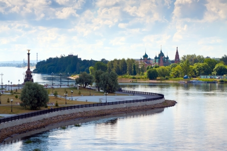 junction: Summer view of Yaroslavl. Junction of Kotorosl River with Volga River. Russia