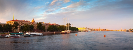 Panoramic view of Neva river in summer. St. Petersburg, Russia photo