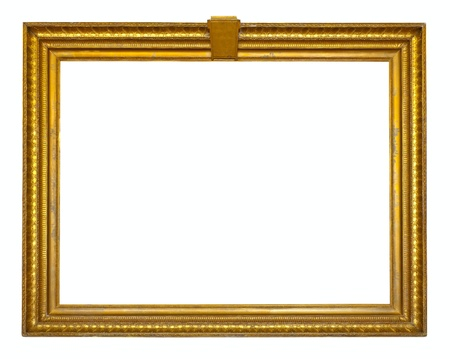 gold picture frame. Isolated over white backgroun photo