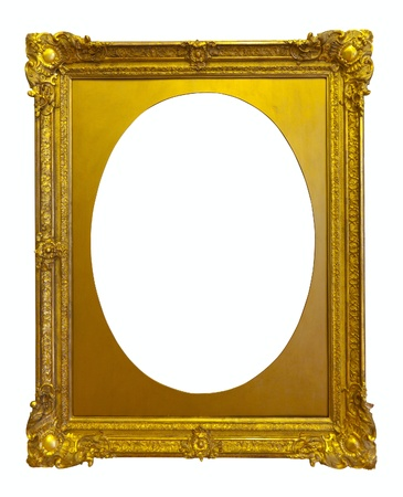ellipse gold picture frame. Isolated over white background photo
