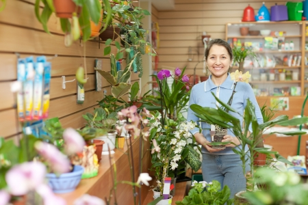 Happy mature woman with  orchid surrounded by different flowers in flower store Stock Photo - 17031471