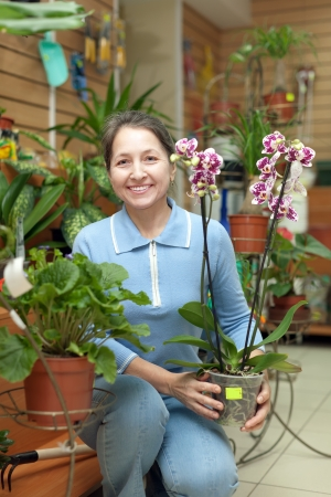 Happy mature woman with Phalaenopsis orchid surrounded by different flowers in flower store photo