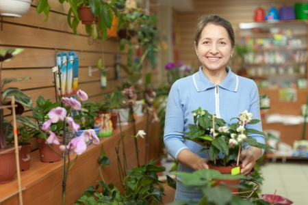 Happy mature woman chooses Clerodendrum plant at flower shop photo
