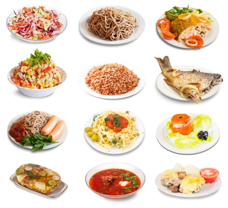 Set of group plates with food over white background Stock Photo - 16950698