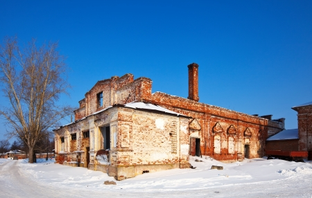 The remains of the refectory of the  Candlemas church in Rizopolozhensky monastery at Suzdal in winter. Russia photo
