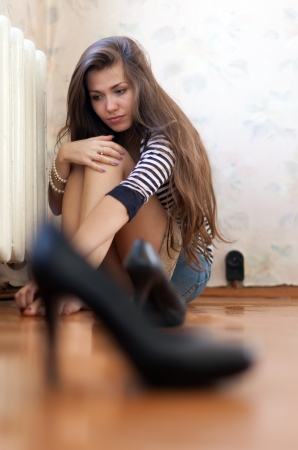 Long-haired girl having disappointment in first love Stock Photo - 16973935