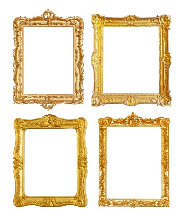 antique gold picture frames: Set of few old gold picture frames. Isolated on white background.  Clipping path included