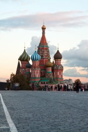 intercession: Intercession Cathedral  and the Spassky Tower of Moscow Kremlin at Red Square in Moscow  Russia