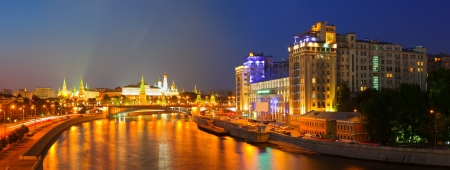 Kind to the Moscow Kremlin  and   Moskva River in night. Russia Stock Photo - 17067391
