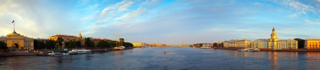 Panoramic view of Neva river in morning. Saint Petersburg, Russia Stock Photo - 17067036