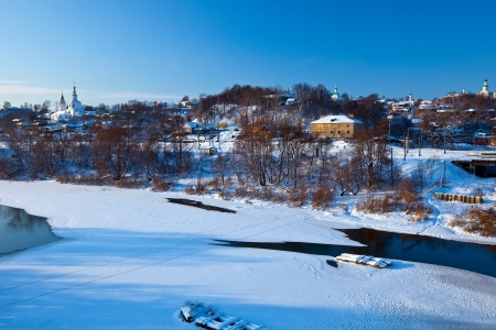 klyazma: View of Vladimir down town from river in winter, Russia