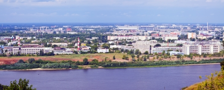 residential settlement: panoramic view of  Nizhny Novgorod in summer. Russia