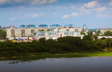 residential settlement:  view of  residential district at Nizhny Novgorod in summer. Russia Stock Photo