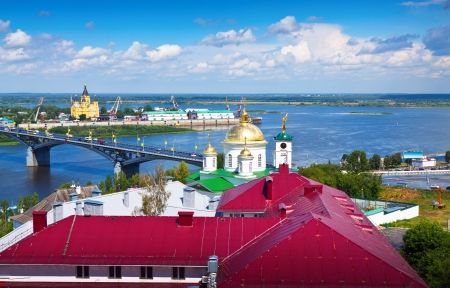 oka: View of Nizhny Novgorod. Kanavinsky bridge and Junction of Oka river with Volga River