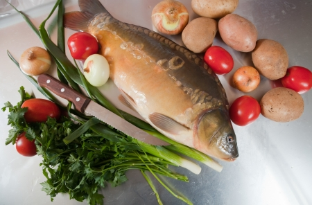 Raw fresh carp fish with vegetables Stock Photo - 17076275