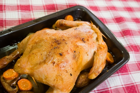 roasting pan: baked chicken In roasting pan on checked tablecloth