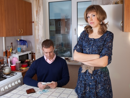 Financial problems have a husband and wife Stock Photo - 17123530