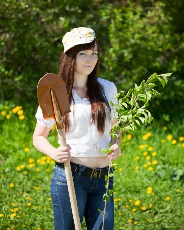 Young woman sets tree outdoor in spring photo