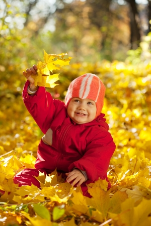 Toddler sitting on maple leaves in autumn park photo