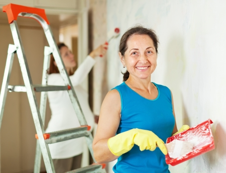 priming brush: Happy women  making repairs at living room