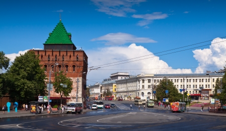 kreml: NIZHNY NOVGOROD, RUSSIA - JULY 19: View on Kremlin of XVI century in July 19, 2012 in Nizhny Novgorod, Russia. City was founded in 1221, now is fifth largest city in Russia - population of 1,250,615 Editorial