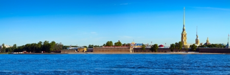 Panorama of St. Petersburg. Peter and Paul Fortress in summer day photo
