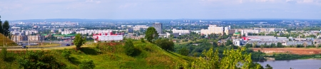 residential settlement: panoramic view of  industry district at Nizhny Novgorod in summer. Russia Stock Photo