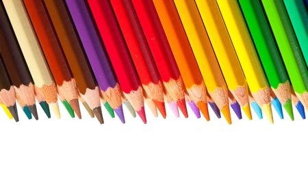 copyspase: Border from multicolored pencils with copyspase Stock Photo
