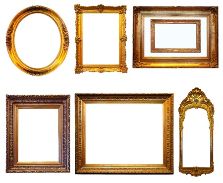 Set of few Luxury gilded frames. Isolated over white background with clipping path photo