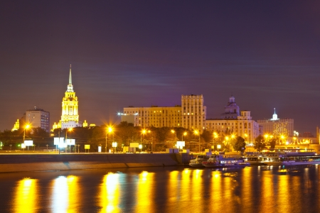 View of Moscow  Berezhkovskaya embankment  in summer night photo