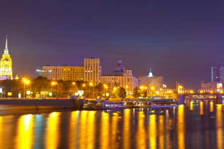 View of Moscow in simmer night. Berezhkovskaya embankment photo
