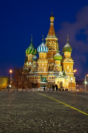 Intercession Cathedral at Red Square in winter night. Moscow, Russia Stock Photo - 17493152