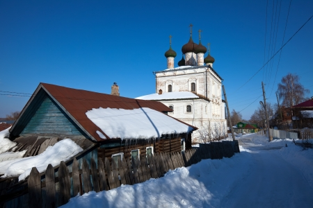 build in: Church of the Resurrection  (build in  1700) at Gorokhovets in winter. Russia Stock Photo
