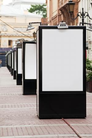 billboard posting:  blank billboards at pedestrian street Stock Photo