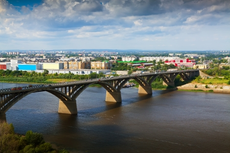 nizhni novgorod: View of Nizhny Novgorod.  Molitovsky bridge through Oka River. Russia Stock Photo