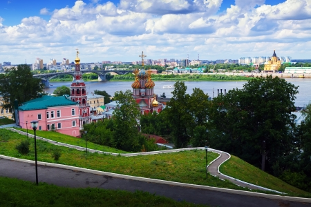 View of old Nizhny Novgorod and junction of Oka river with Volga River  Russia photo
