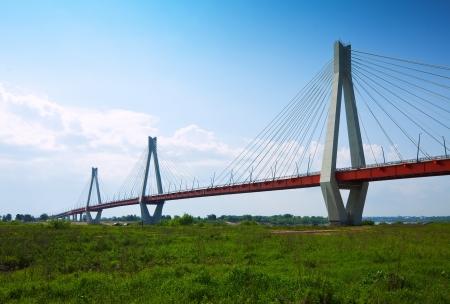 oka: Murom bridge through Oka River,  cable bridge length of about 1400 meters. Russia Stock Photo